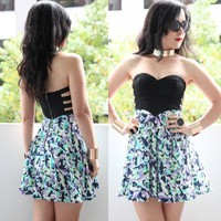 [SALE] SWIRL FLORAL BUSTIER BODICE BANDAGE CUT OUT LOVE HEART BANDEAU DRESS 6