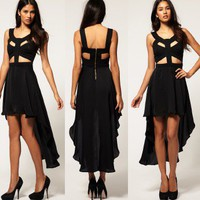 [SALE] CUT OUT BUSTIER WATERFALL ASYMMETRIC HARNESS BLACK TAIL MAXI DRESS S 8 6