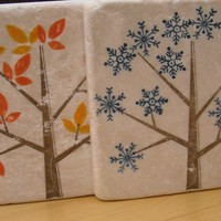 Seasons Tree Tumbled Marble Tile Coaster Set by paizleypolkadot