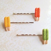 Glitter Popsicle Bobby Pins Set of Three (orange, green, yellow)