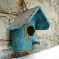 Romantic teal, Ultramarine Green  and gold rustic style birdhouse or nesting box with convenitent hanger gift for her