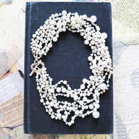 Pearl Jewelry Necklace, Chunky Pearl Necklace, Pearl Bib Necklace,  Bridal Pearl Jewelry, Vintage Style, Wedding Party Jewelry