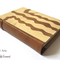 Exclusive Handmade Journal Wood and Leather Blank Book - Marquetry  - Wood Inlay - Handmade Woodwork