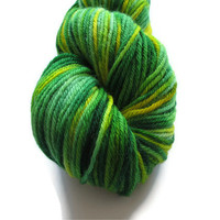 Hand Dyed Worsted Weight Yarn, Green and Yellow
