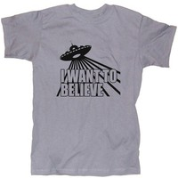 I Want To Believe Spaceship Flying Saucer Men's T Shirt in S, M, L, XL, XXL