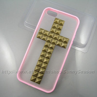 IPhone 5 case,Pink Cross Studded iPhone 5 Case,Bronze Pyramid Studs Frosted Translucent iPhone Case