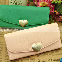Women's PU Leather Clutch Wallet Purse Handbag Bag Loving Heart Shape Button