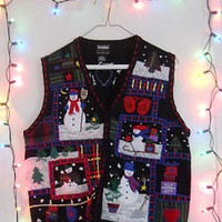 SKIING SNOWMEN! Ugly Tacky Christmas Sweater Holiday Vest Womens XL Mens Large