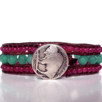 Chan Luu Style Woven Leather Bracelet Jade Aqua Hot Pink Silver Buffalo Nickel
