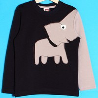 Cute Elephant Trunk Sleeve Sweater Jumper Tee in Navy - For 2 to 10 years by smilekids