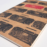 Rad Boombox large moleskine sketch, retro 80&#x27;s music journal, hip hop