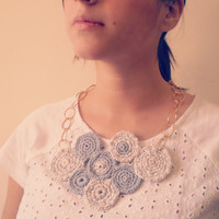 Crochet Statement Necklace Gray and white -golden brass