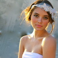 Bridal Bandeau Mini Crystal and Vintage Petal by DolorisPetunia