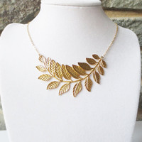 Gold Leaf Pendant Necklace - Statement Necklace, Wedding Jewelry, Bridesmaid, Bridal Jewelry,Pendant Necklace, Personalized, Anniversary