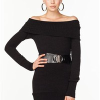 A'GACI Off Shoulder Belted Sweater Dress - DRESSES