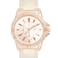 ASOS Rose Gold Watch with Nude Strap at asos.com