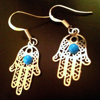 Hamsa Hand of God Fatima Silver Earring Kabbalah Evil Eye Middle Eastern Jewelry