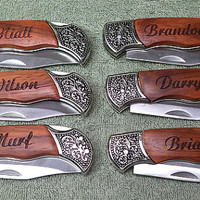3 Personalized Laser Engraved Rosewood DecoGrip Hunting/Pocket Knife With Carrying Pouch Best Man Groomsman Birthday Fathers Day