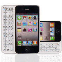 Wireless Bluetooth Slide Keyboard Case Spray Silvery for iPhone 4/4S 4G White