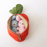Two Small Crochet Amigurumi Bunny Rabbit in an Orange Carrot Purse/Zipper Pouch Gift Set/Toys - MADE TO ORDER, Choose your own color