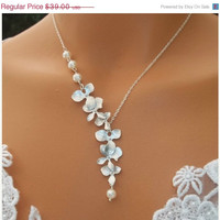 Thanksgiving Sale Orchids Necklace - Swarovski Pearls Necklace - White Gold Orchids Cascade Wedding, Bridal Jewelry Bridesmaids Gift