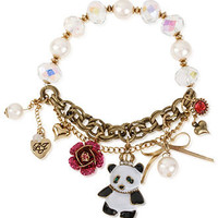 Betsey Johnson Bracelet, Antique Gold-Tone Glass Half Stretch Panda Bracelet - Fashion Jewelry - Jewelry & Watches - Macy's