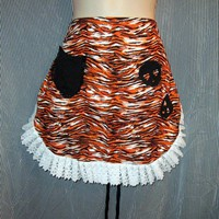 Orange and Black Zebra Striped Apron