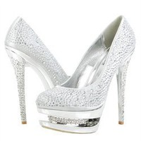 Vigo Fiore Irena16 Silver Rhinestone Encrusted Inset Platform Pumps