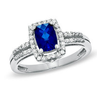 Cushion-Cut Lab-Created Blue and White Sapphire Frame Ring in Sterling Silver - View All Rings - Zales