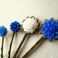 Flower Hair Accessories. Blue and White Flower Hair Pins. White and Cobalt Blue Daisy Mum and Rose Hair Pins Filigree Bobby Pins. Set of 4.