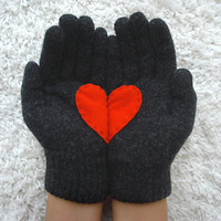 Heart Gloves, Dark Grey Gloves with Red Felt Heart