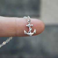 Anchor Necklace - Sterling Silver . Tiny Anchor Charm
