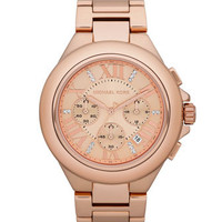 Michael Kors Mid-Size Rose-Golden Stainless Steel Camille Glitz Watch - Michael Kors