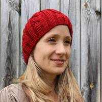 Knitted Red Womens Hat - Cable Beanie - Autumn Red - Acrylic Yarn