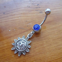 Belly button ring - Sun belly ring with dark blue gem