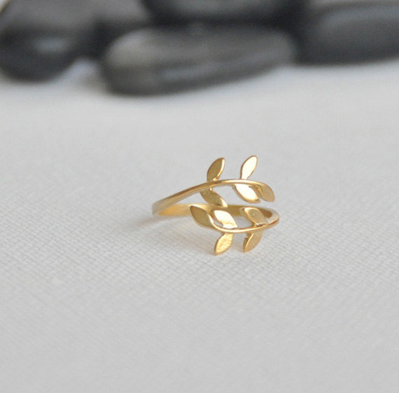 Gold Leaf Ring, Laurel Leaf Ring, Bay Leaf Ring, Adjustable Ring, Whimsy Ring
