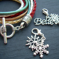 Womens Leather Christmas Bracelet, Five Strand, Double Wrap, with 2 free lobster clasp charms