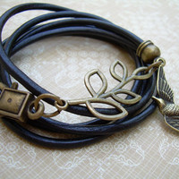 Womens Black Leather Bracelet, Antique Bronze,Triple Wrap