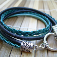 Womens  Leather Bracelet , Toggle Closure,  Metallic Teal and Black, Double Wrap,