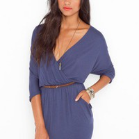 Draped Across Dress - Slate Blue - NASTY GAL