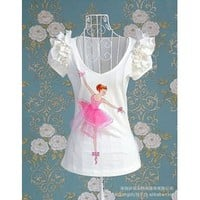 Elegant Ballet Girl Flouncing Puff Sleeve Tee White-Clothes Online