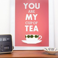 $19.00 Print Tea cup art  Love  typography poster  Stig Lindberg by handz