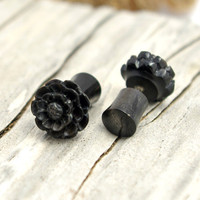 Fake Plugs Post Earrings Black Horn Earrings Spiral Tribal Fake Gauge Earrings - Gauges Plugs Bone Horn - FP001 H