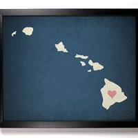 State Love Hawaii (Pictured In Navy) Giclee, Art Print 8 x 10