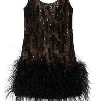 Oscar de la Renta | Feather-trimmed silk-mesh dress | NET-A-PORTER.COM