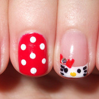 Hello Kitty with CND Shellac Wildfire, Cream Puff & Negligee - Natalie G.'s (UrbanelyDecayed) Photo | Beautylish