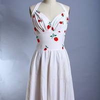 Vintage 50s Cherry Embroidered Bombshell by FashionHouseVintage