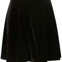 Black Velvet Skater Skirt - Skirts  - Apparel