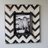 Mod Chevron Distressed Wood Picture Frame Black and by ellachamp