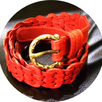 red leather handmade linked belt